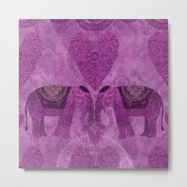 Elephants in Love pink heart artwork Metal Print