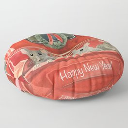 New year and mouses in red car Floor Pillow