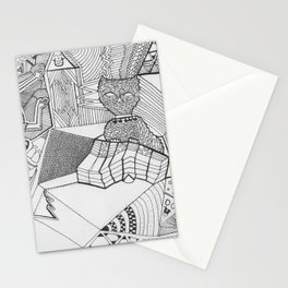 Cat Characters Adult Coloringbook Stationery Cards