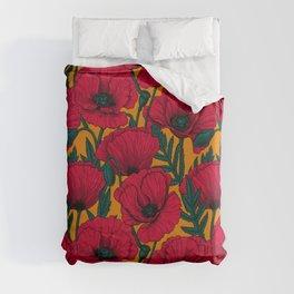 Red poppy garden    Duvet Cover