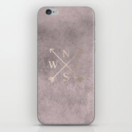 Gold on Pink Blush Distressed Compass Adventure Design iPhone Skin