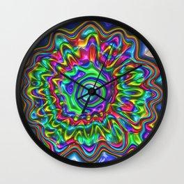 gaudy colorful fantasy flower Wall Clock