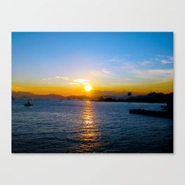 Sunset in Star Ferry Pier, Hong Kong Canvas Print