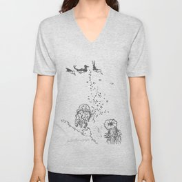 Two Tailed Duck and Jellyfish White Unisex V-Neck