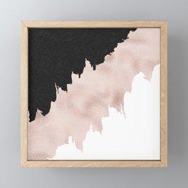 Modern black lace pink rose gold brushstrokes Framed Mini Art Print
