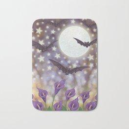 the moon, stars, bats, & calla lilies Bath Mat