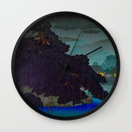 Vintage Japanese Woodblock Print Raining Landscape Tree On Rock Leaning Into The Lake Comforting Nig Wall Clock
