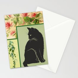 Patchwork Flowers and Cat Stationery Cards