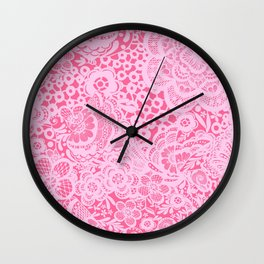 Christmas Pink Lace Doves and Flowers Wall Clock
