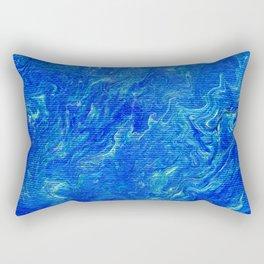 Cobalt Blue Turquoise Ochre Marbled Swirls Rectangular Pillow