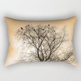 Sepia Roosting birds Rectangular Pillow