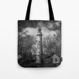 Grosse Point Poe Style Lighthouse Lake Michigan Evanston Illinois Black and White Tote Bag