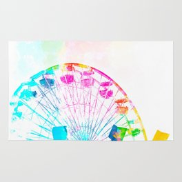 ferris wheel in the city with colorful painting abstract in blue pink yellow green Rug