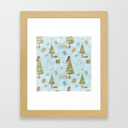 From Mice And Christmas - Cute teal X-Mas Pattern Framed Art Print