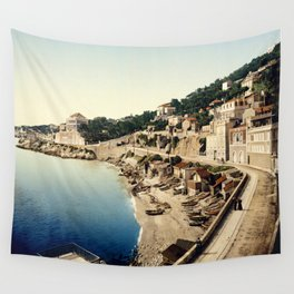 Beach at Marseille, France, ca. 1895 Wall Tapestry