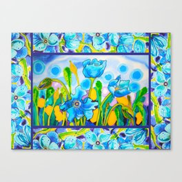 Blue Poppies 1 with Border Canvas Print