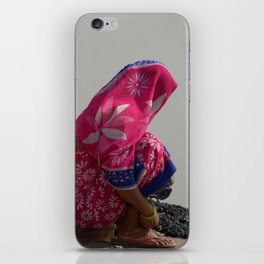 Woman in Pink Sari by Ganges iPhone Skin
