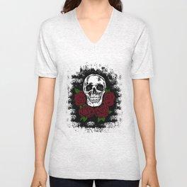 Skull and Rose Unisex V-Neck