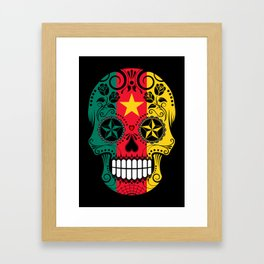 Sugar Skull with Roses and Flag of Cameroon Framed Art Print