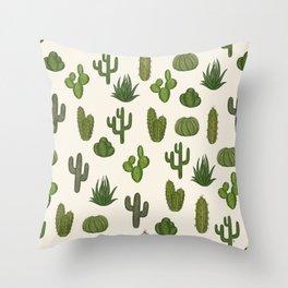 Cacti parade Throw Pillow