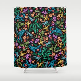 Asian-Inspired Floral Pattern With Gold Magical Lanterns Shower Curtain