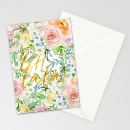 "Oh la la "" Fashionable Watercollor Floral Pattern Stationery Cards"
