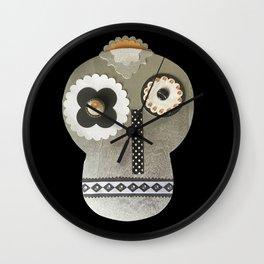 Silver Craft Art Skull Wall Clock