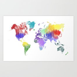 Colorful world map Art Print