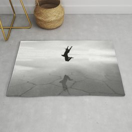Abstract Beach | Jump for Joy Dramatic Black and White Happy Sunset Gray Bright Mood Rug