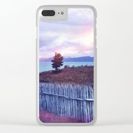Sunset and lone tree Clear iPhone Case