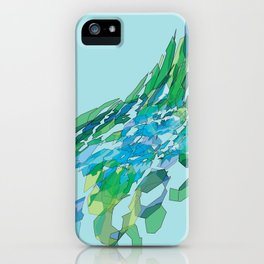 Polygonal lake with pines iPhone Case