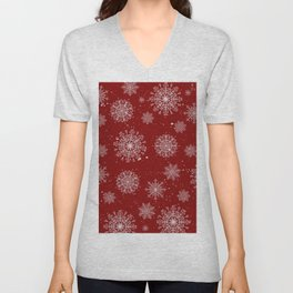 Assorted White Snowflakes On Red Background Unisex V-Neck