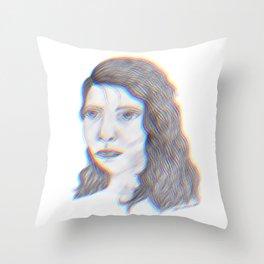 "SERIOUS - pencil illustration ""screen print"" Throw Pillow"