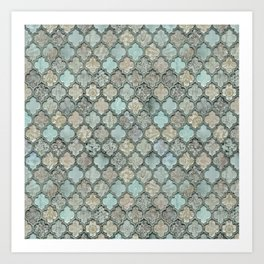 Old Moroccan Tiles Pattern Teal Beige Distressed Style Art Print