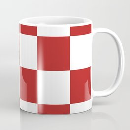 Large Checkered - White and Firebrick Red Coffee Mug