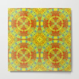 African Vintage Gold and Orange Mandala Metal Print
