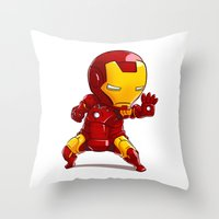 ironman Throw Pillows featuring IRONMAN by MauroPeroni