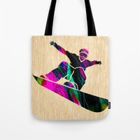 snowboard Tote Bags featuring Snowboard by marvinblaine