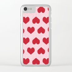 Hearts valentines day pattern print gifts decor for valentines holiday Clear iPhone Case