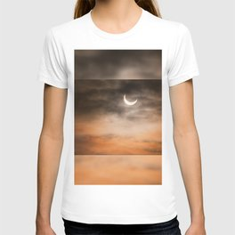 Partial solar eclipse and clouds morning sky T-shirt