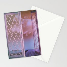 Lavender Fields in Window Shabby Chic original art Stationery Cards
