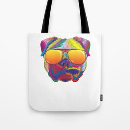 Psychedelic Pug Dog Face with Sunset Sunglasses Tote Bag