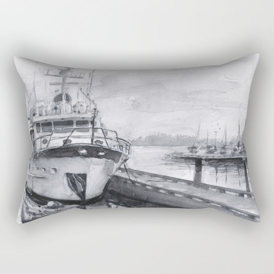 Kirkland Marina Waterfront Boat Watercolor Seattle Rectangular Pillow