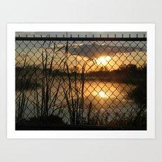 Fenced Sunrise Art Print