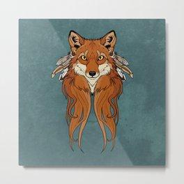 Tribal Fox Metal Print