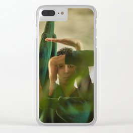 Woman face with hands, geometry Clear iPhone Case