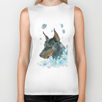 doberman Biker Tanks featuring Blue Doberman by Parmelyn