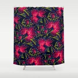 New Zealand Rata floral print (Night) Shower Curtain