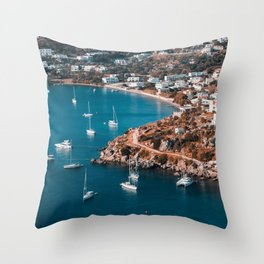 Sailing boats in the island of Leros Throw Pillow