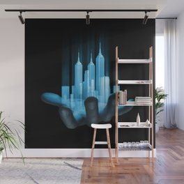Virtualville / 3D render of miniature holographic city in human hand Wall Mural